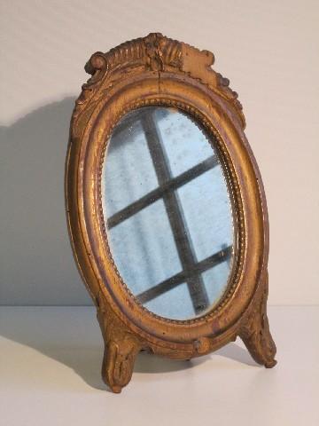Antico specchio ovale da tavolo con cornice legno dorato - Specchio antico ovale ...